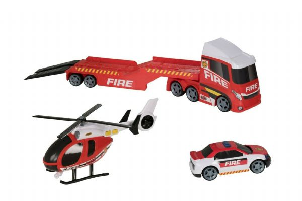 Teamsterz Light And Sound Fire Emergency Transporter Truck, Car And Helicopter